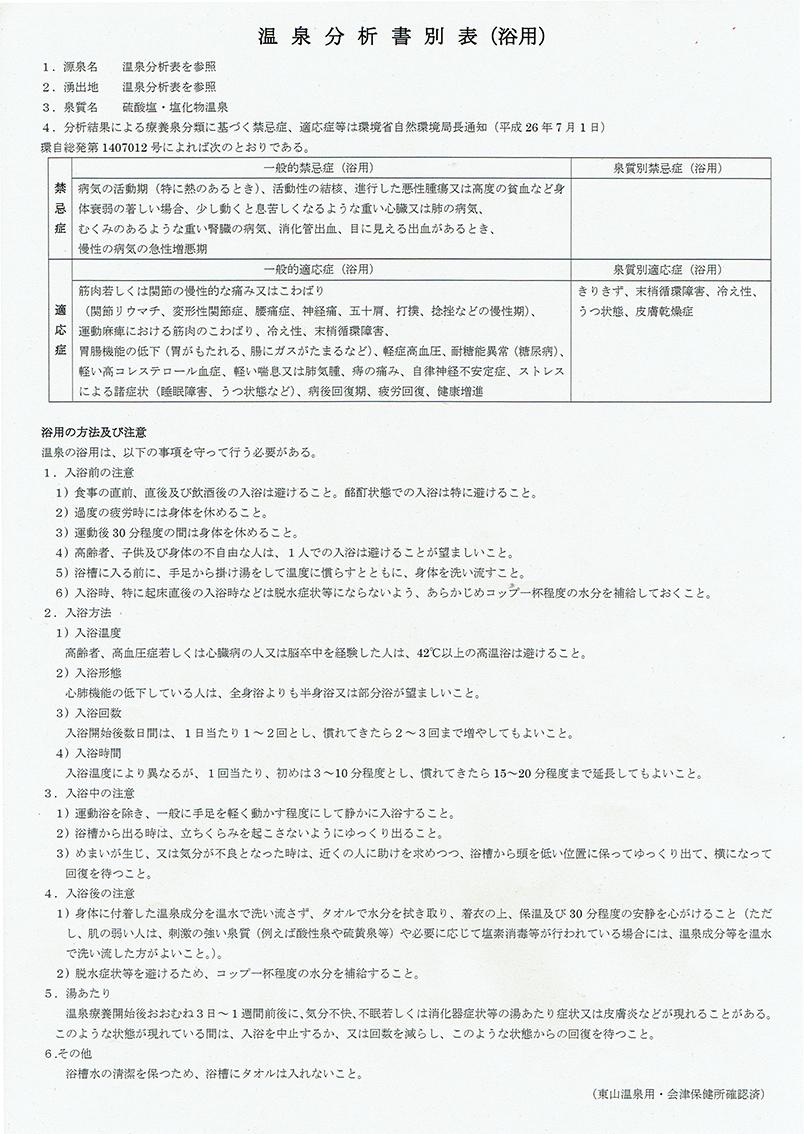 会津東山温泉 向瀧 温泉分析表別表02