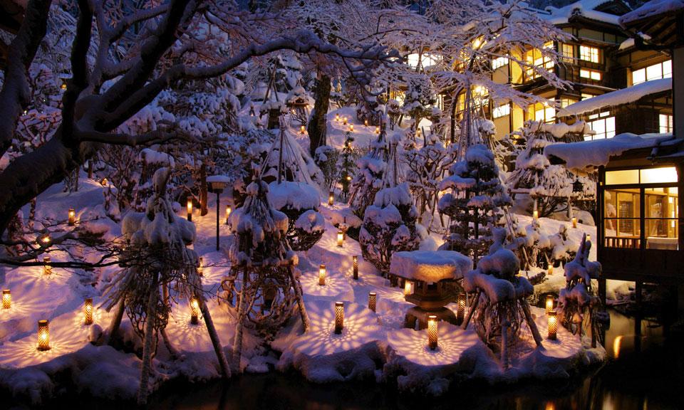 会津若松 東山温泉 向瀧 雪見ろうそく