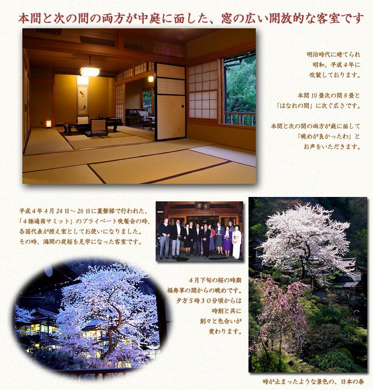 Aizu Higashiyama onsen Mukaitaki「福寿草」の間からの満開の桜