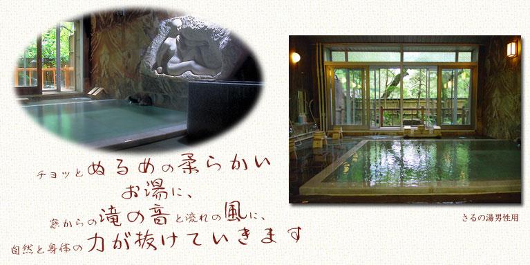 向瀧 温泉さるの湯 ぬるめの柔らかいお湯と、滝の音と風