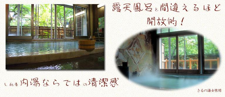 向瀧 温泉さるの湯 露天風呂感覚が楽しめる、大理石造りのさるの湯